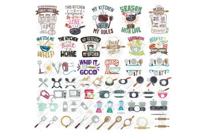 Kitchen SVG Monogram Bundle in SVG/DXF/PNG/JPG/EPS