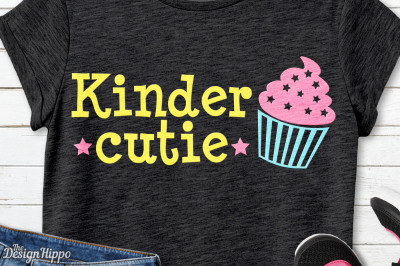 Kinder Cutie SVG, Kindergarten, Cupcake, School, Girls, SVG, PNG, DXF