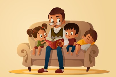 Grandfather and children