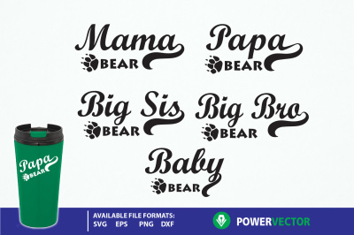 Bear Family Bundle Set svg dxf eps png files for Cricut, Silhouette