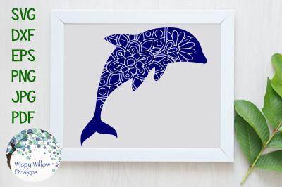 Floral Dolphin Mandala SVG/DXF/EPS/PNG/JPG/PDF