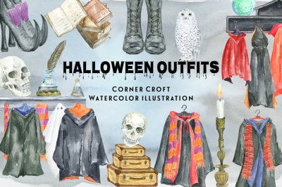 Watercolor Holloween Outfit Clipart