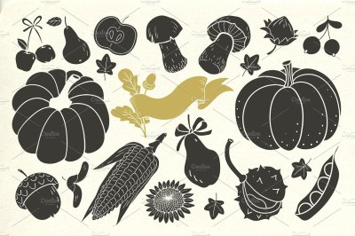 Vintage Autumn harvest elements
