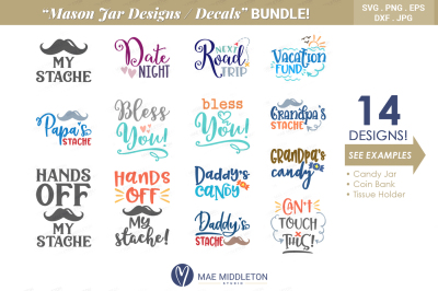 Mason Jar Designs, Decals, printable labels Bundle!