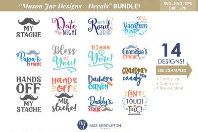 Mason Jar Designs, Decals, printable labels Bundle!