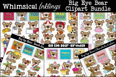 Big Eye Bear HUGE Clipart Bundle