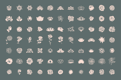 A pack of 77 decorative flower symbols set.