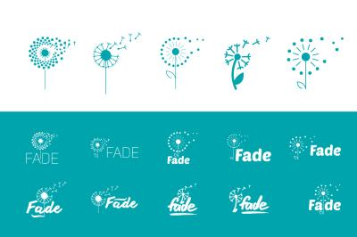 Flat set of fly dandelion symbols
