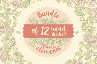 12 handsketched flower elements