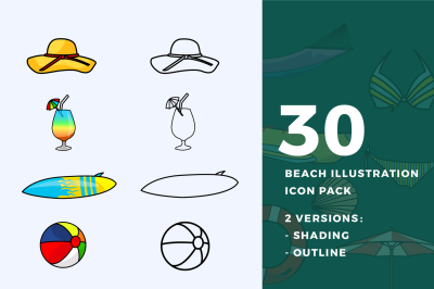 30 Beach Illustration Icon Pack