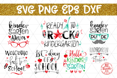 Back To School SVG Bundle, Kindergarten T Shirt Designs EPS PNG DXF