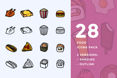 28 Food Icons Pack