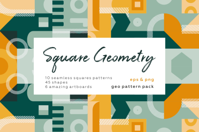 Square geometric pattern set.