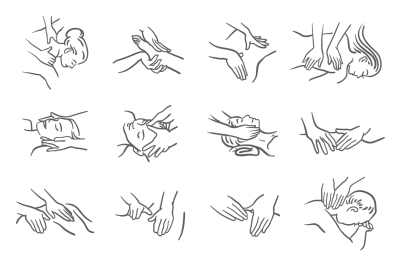 Massage icon vector illustration. Hand illustration. Relax therapy.