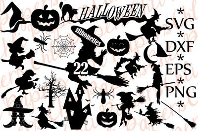Halloween Silhouette Svg, HALLOWEEN CLIPART, Halloween Bundle Svg