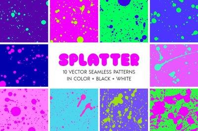 Splatter Spray Seamless Patterns