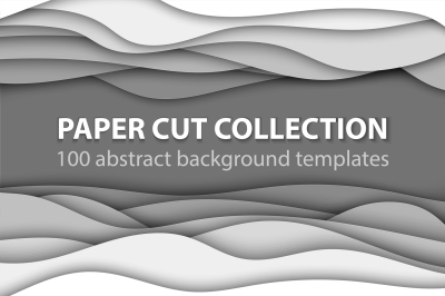 Bundle of 100 paper cut backgrounds
