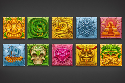 10 aztec game icon set
