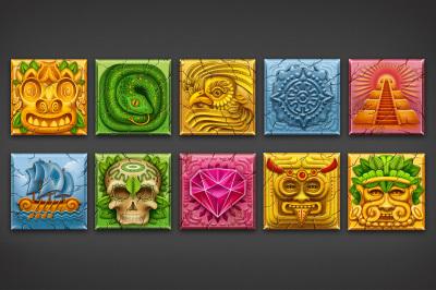 10 aztec game icon set