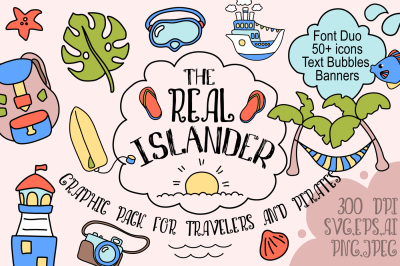 Summer Travel Font Duo + Handdrawn Icons Set