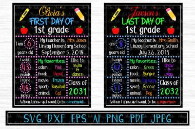 Chalkboard SVG, Back to school SVG, School board,  1st day of school
