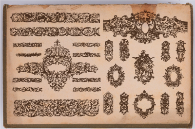 80 Hand Drawn Engrave Baroque Style elements.