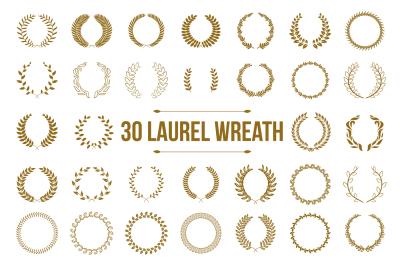30 Gold circular laurel wreath set.