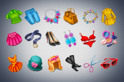 18 Girls clothes and accessories items game icons set