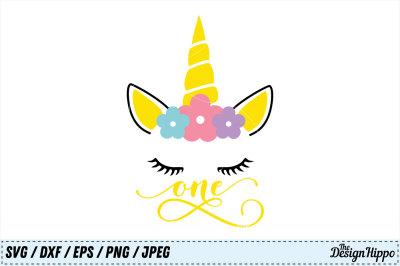 One Unicorn SVG, Birthday SVG, Unicorn Birthday SVG, DXF, PNG Cut File