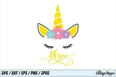 Unicorn SVG, Unicorn Birthday SVG, 3rd Birthday PNG, SVG, DXF Cut File