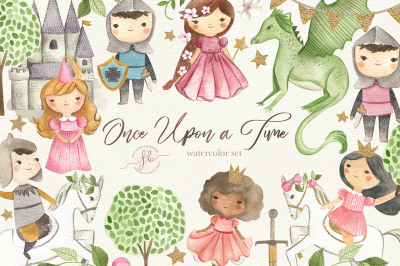 Once Upon a Time - Princess and Knight Watercolor Clipart