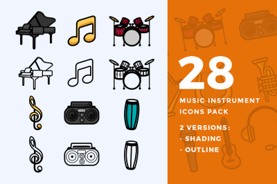 28 Music Instrument Icons Pack