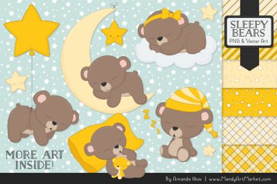 Beary Cute Sleepy Bears Clipart & Papers Set in Yellow