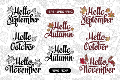 Autumn cutting file. Fall quote. Seamless pattern. Fall lettering