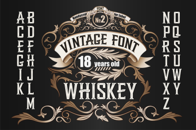 Vintage label font. Whiskey style.