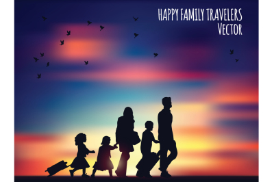 Happy family travelers and landscape