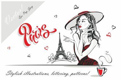 Paris scrapbook digital cliparts Png  fashion girl in Paris