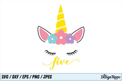 Unicorn SVG, 5th Birthday SVG, Fifth Birthday SVG, PNG, DXF, Cut Files