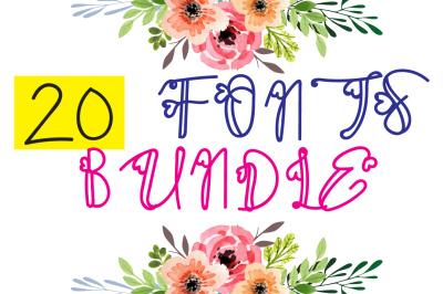 Autumn Fonts Bundle - 20 decorative Fonts