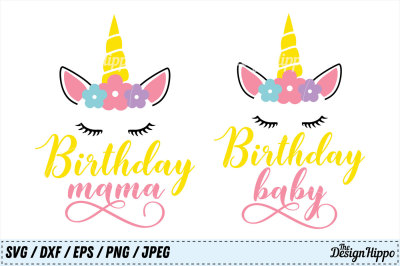 Birthday SVG Bundle, Birthday Baby SVG, Birthday Mama SVG, Unicorn PNG