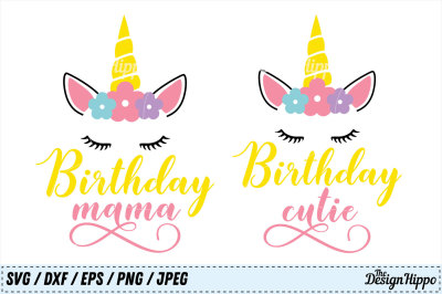 Birthday SVG Bundle, Birthday Mama SVG, Birthday Cutie SVG, Unicorn