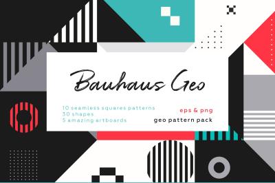 Bauhaus vintage geometric patterns set.