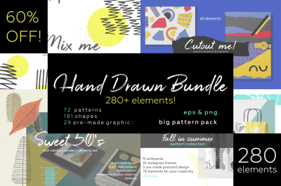Hand drawn patterns bundle. 280 elements!