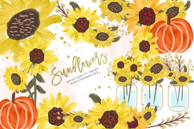 Sunflower Watercolor clipart, Pumpkin clip art, Sunflower clip art