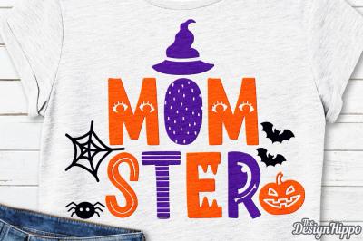 Momster SVG, Mom SVG, Halloween SVG, Spider web SVG, PNG DXF Cut Files