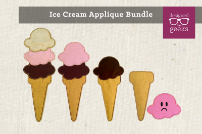 Ice Cream Cone Bundle | Applique Embroidery