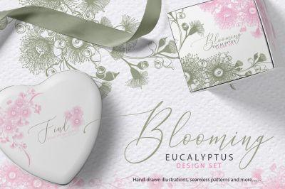 Blooming Eucalyptus Hand drawn Set