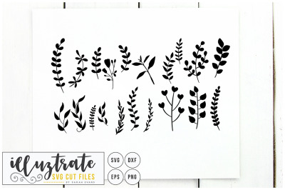Fern SVG Cut Files Clipart Set - dxf - vector - png