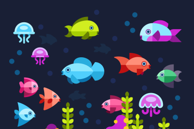 Underwater life with sea animals in flat style