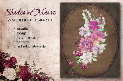 Watercolor design set in shades of mauve